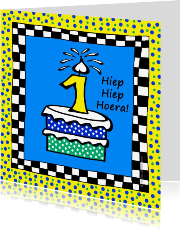 Verjaardagskaarten - 1 jaar hiep hiep hoera
