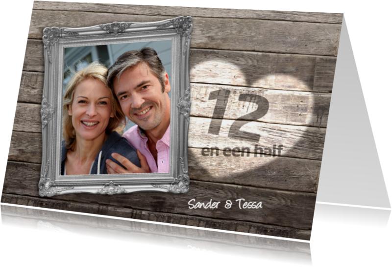 Jubileumkaarten - 12 en een half jaar jubileum - hout