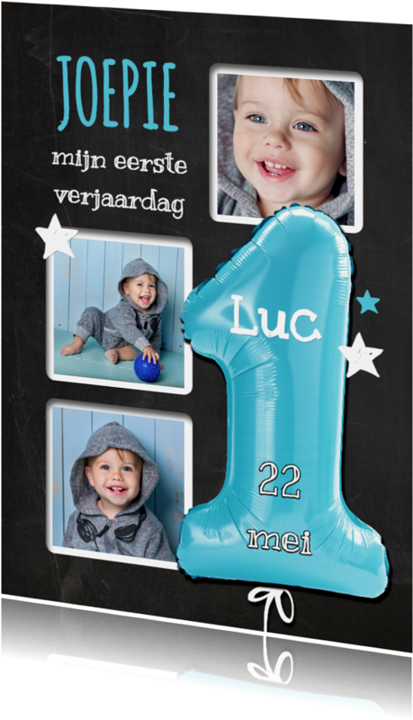 Kinderfeestjes - 1e Verjaardag ballon blauw - SG
