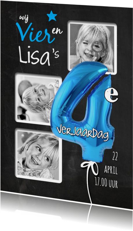 Kinderfeestjes - 4e Verjaardag ballon blauw - SG