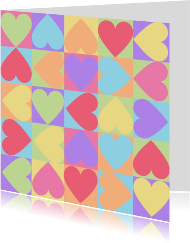 Liefde kaarten - 4k Hartjesserie pastel nummer3