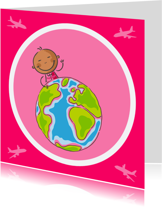 Geboortekaartjes - Aankomstkaart meisje van de wereld