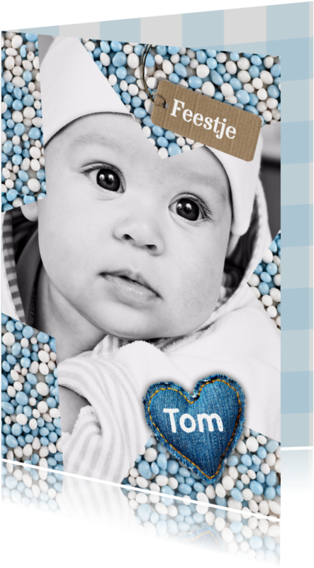 Uitnodigingen - Babyfeestje Ster muisjes blauw