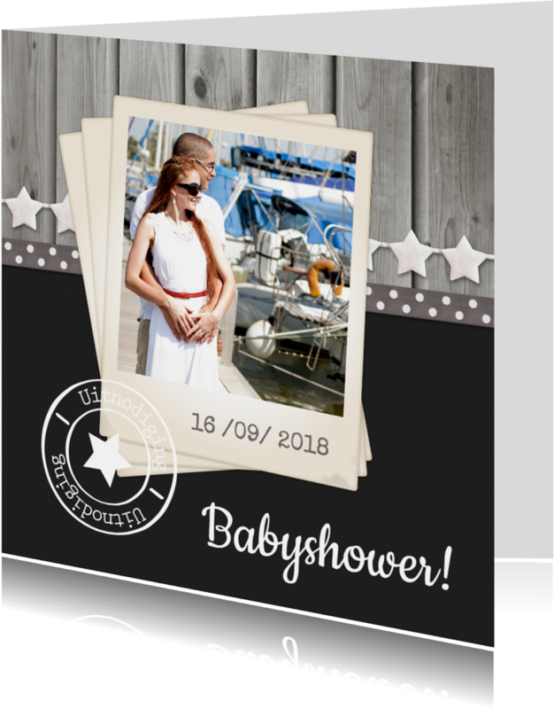 Uitnodigingen - Babyshower Hout Ster 1LS3
