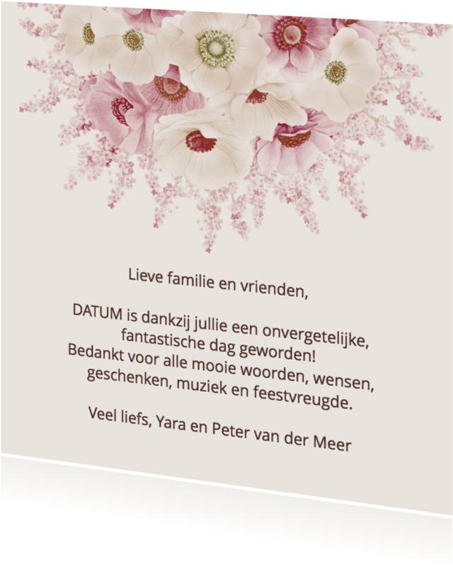 Trouwkaarten - Bedankkaart anemonen pastel