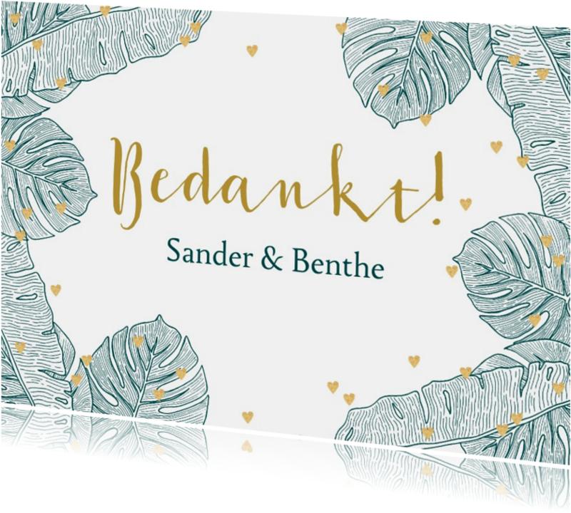 Trouwkaarten - Bedankkaart botanical goud