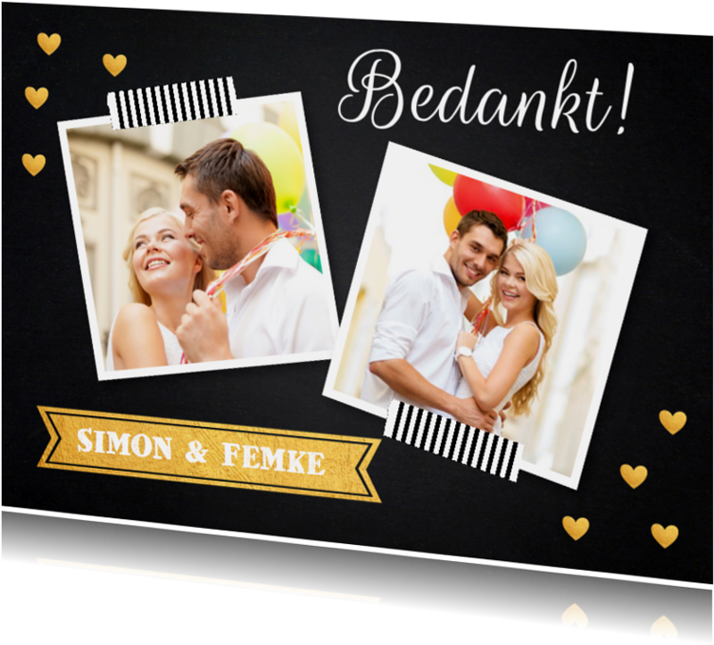 Trouwkaarten - Bedankkaart foto krijtbord hartjes goud - LB