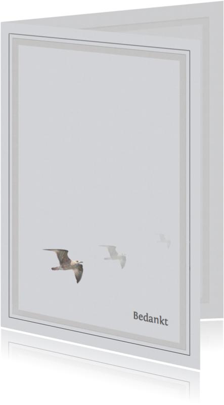 Rouwkaarten - Bedankkaart na overlijden -meeuwen-