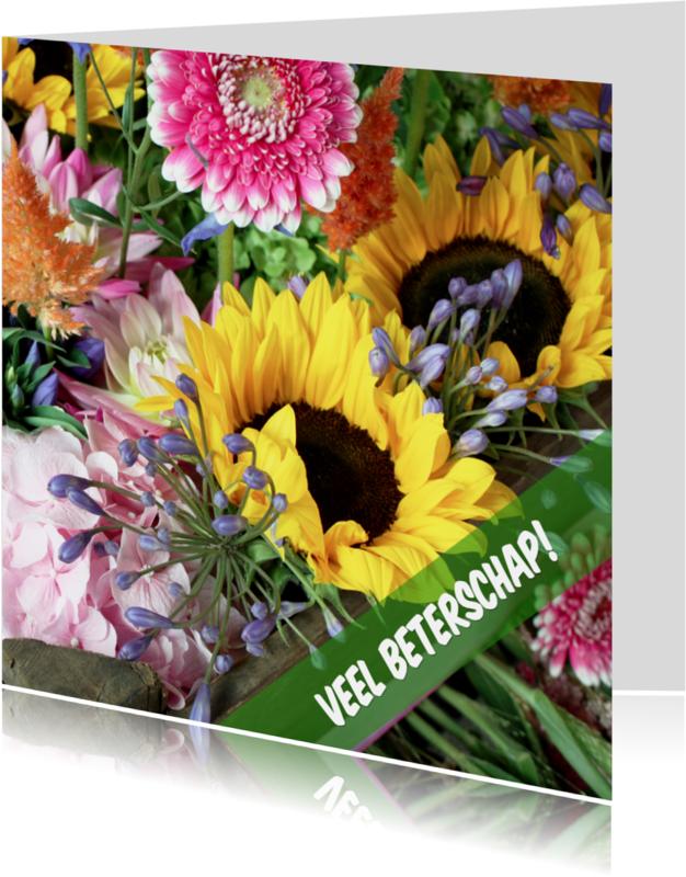 Beterschapskaarten - Beterschap boeket zonnebloemen