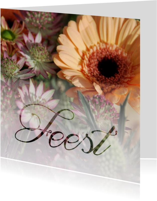 Jubileumkaarten - Bloemen feest