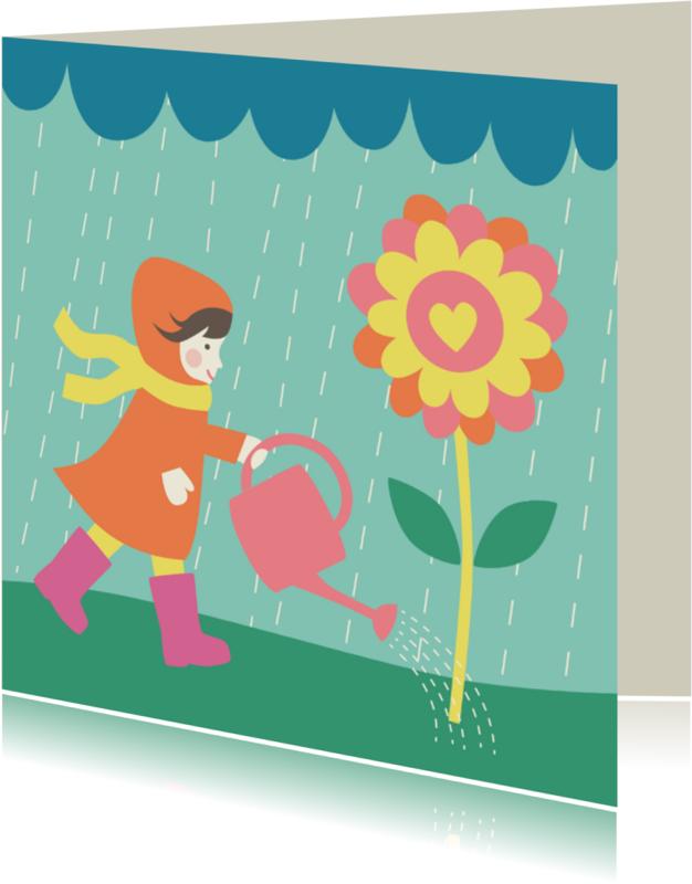 Bloemenkaarten - Bloemenkaart-Meisje Gieter-HK