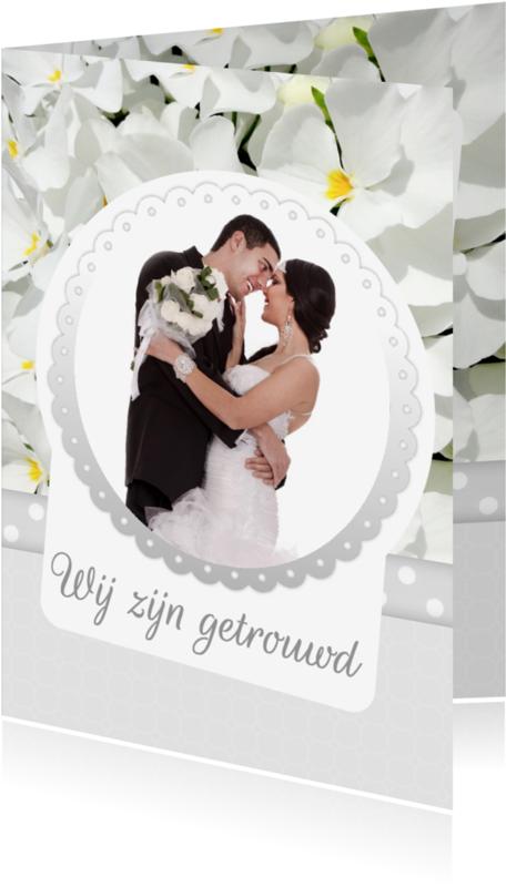 Trouwkaarten - Bloemenkaart violen trouwen - BK