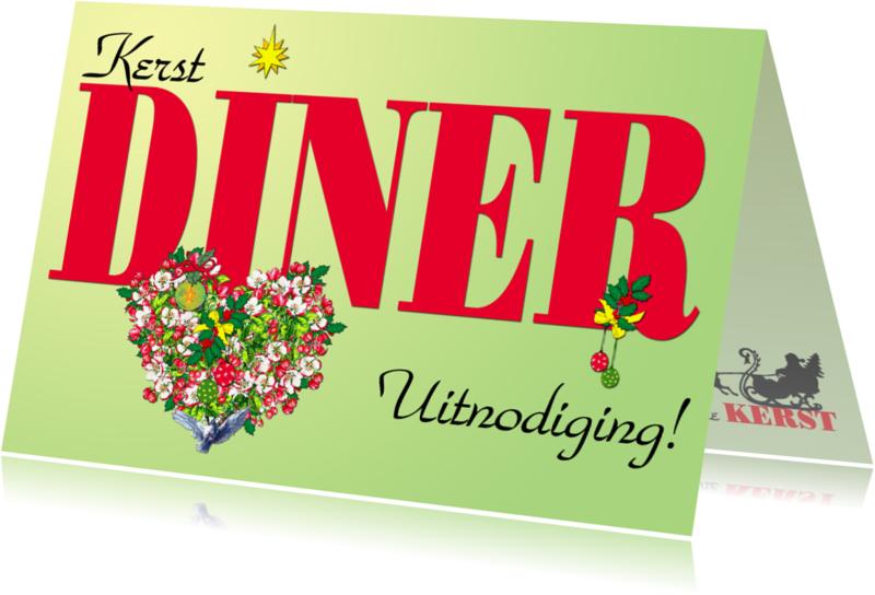 Kerstkaarten - BLOSSOM HEARTS Kerst DINER Uitnodiging