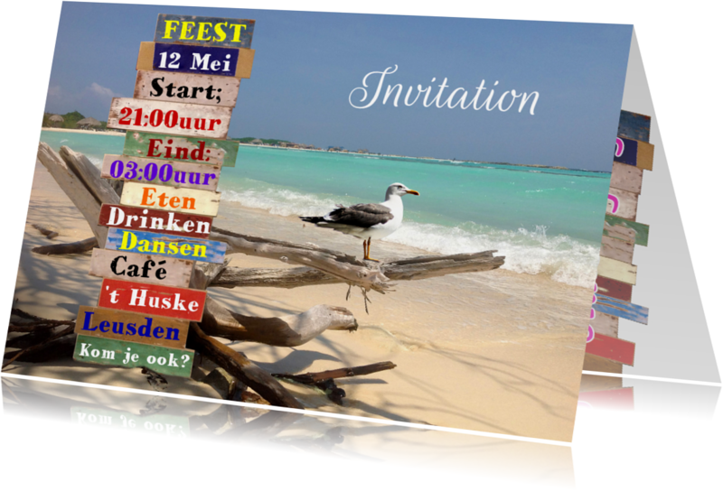 Uitnodigingen - Bord feest zelf aanpassen b