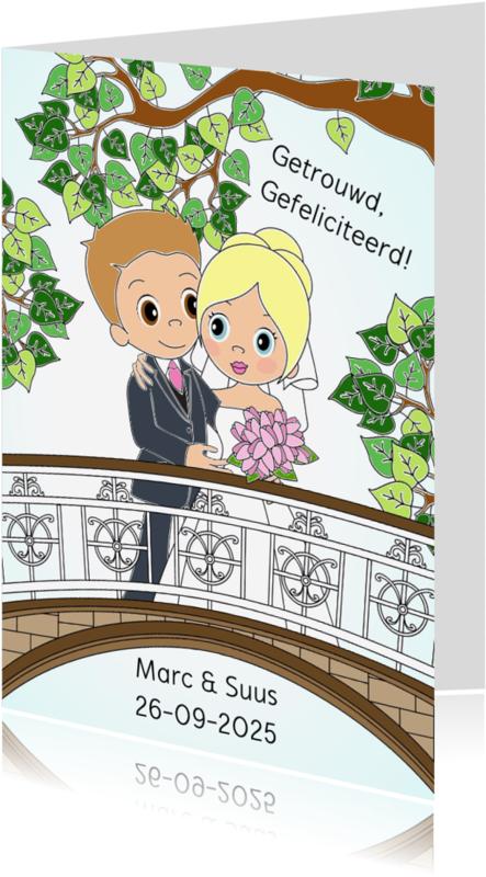 Trouwkaarten - Bruidspaar op brug- EvG