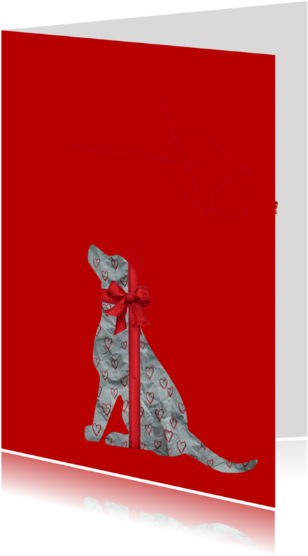 Dierenkaarten - Cadeautje Hond rood - AW