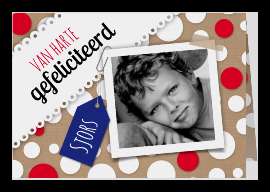 Felicitatiekaarten - Cirkels, foto en blauw label-isf