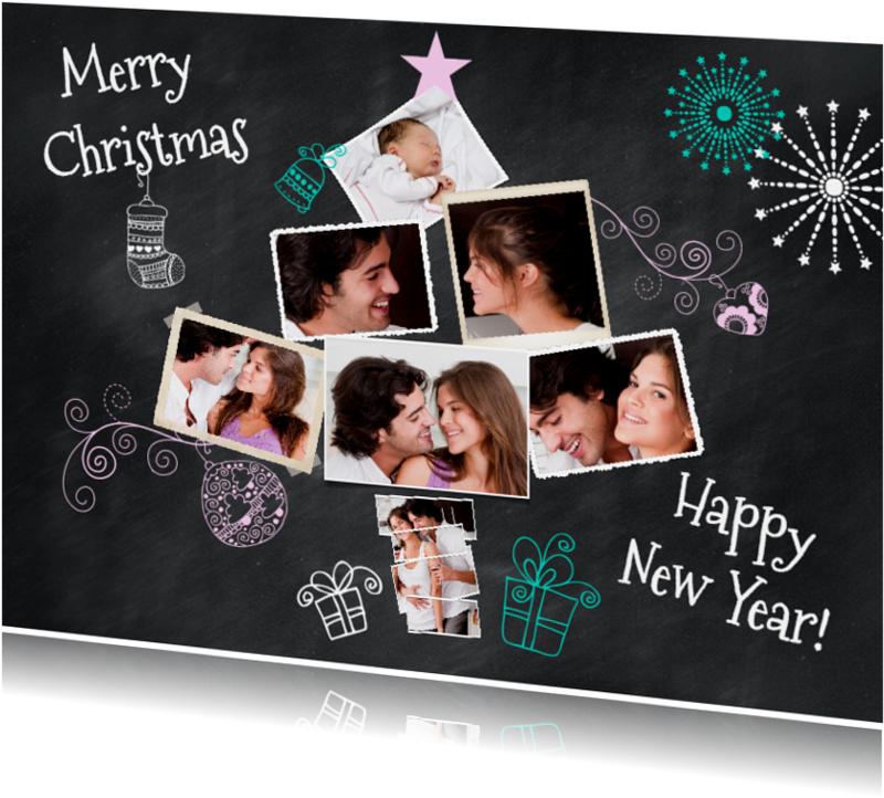 Kerstkaarten -  Collage krijtbord 7 foto's - BK