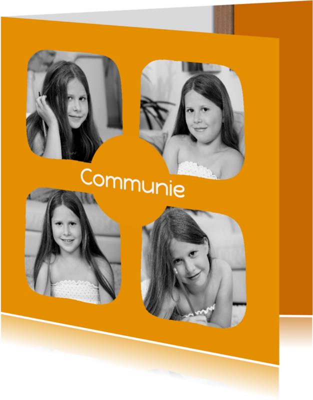 Communiekaarten - Communie 4 foto's oranje - DH