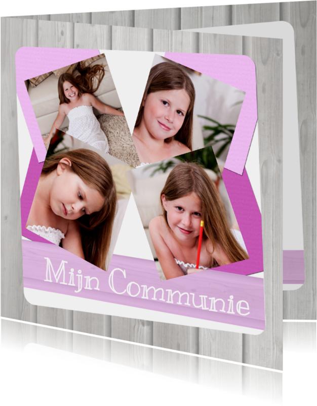 Communiekaarten - Communie collage Roze -BK