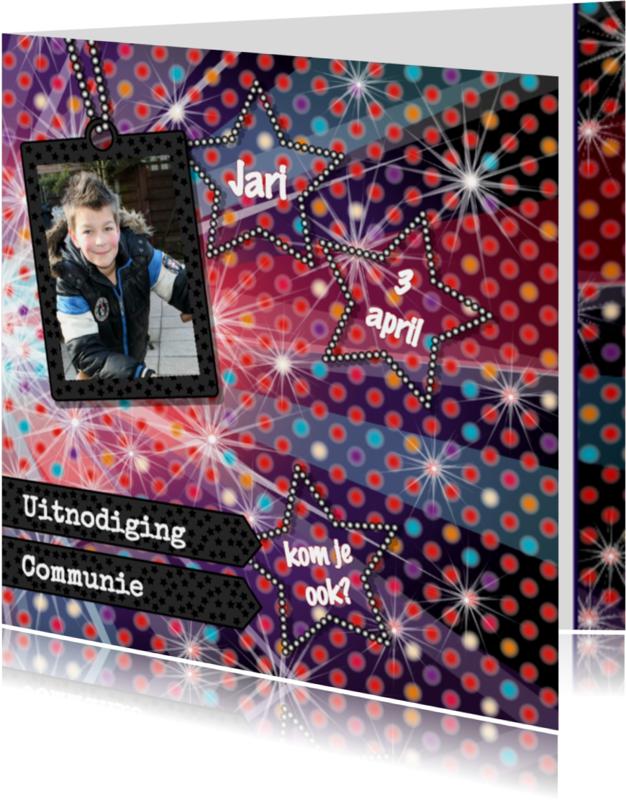 Communiekaarten - Communie DISCO stoer 4knt