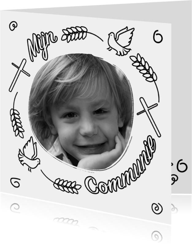 Communiekaarten - Communie doodle zwart wit - BK
