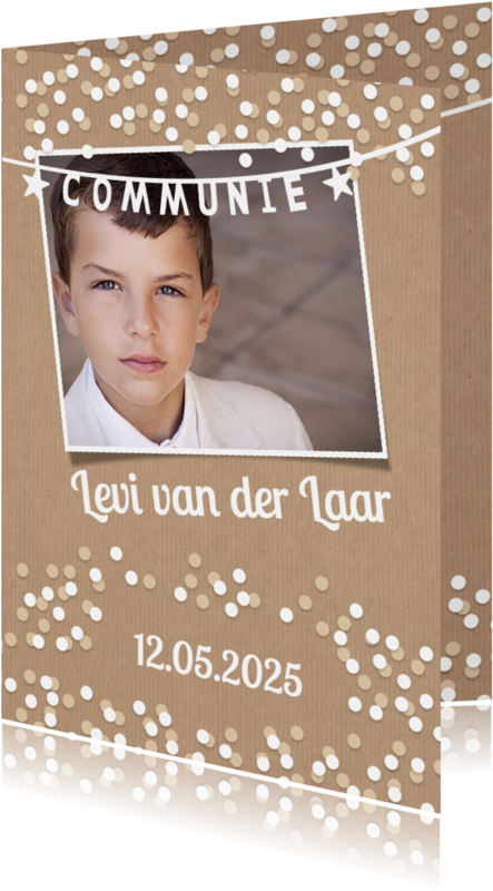 Communiekaarten maken - Communiekaart, confetti en kraft (Proefdruk)