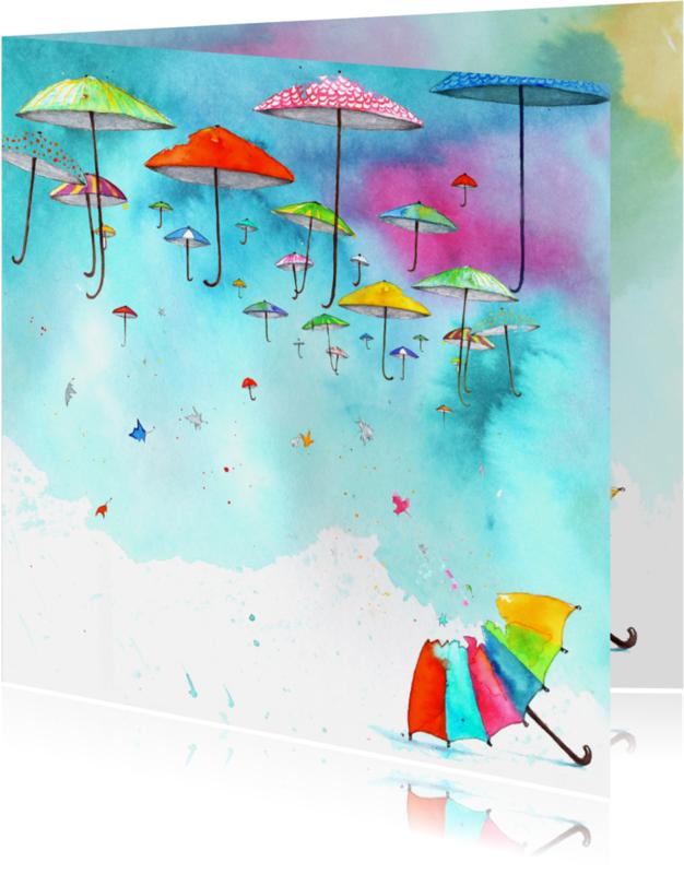 Communiekaarten - Communiekaart met paraplu's
