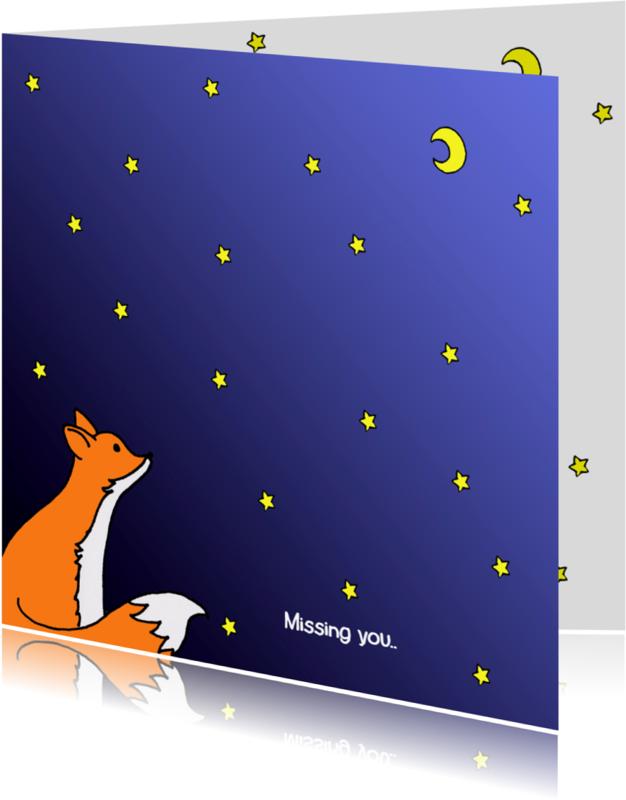 Condoleancekaarten - Condoleancekaarten missing you, vos, sterren, maan