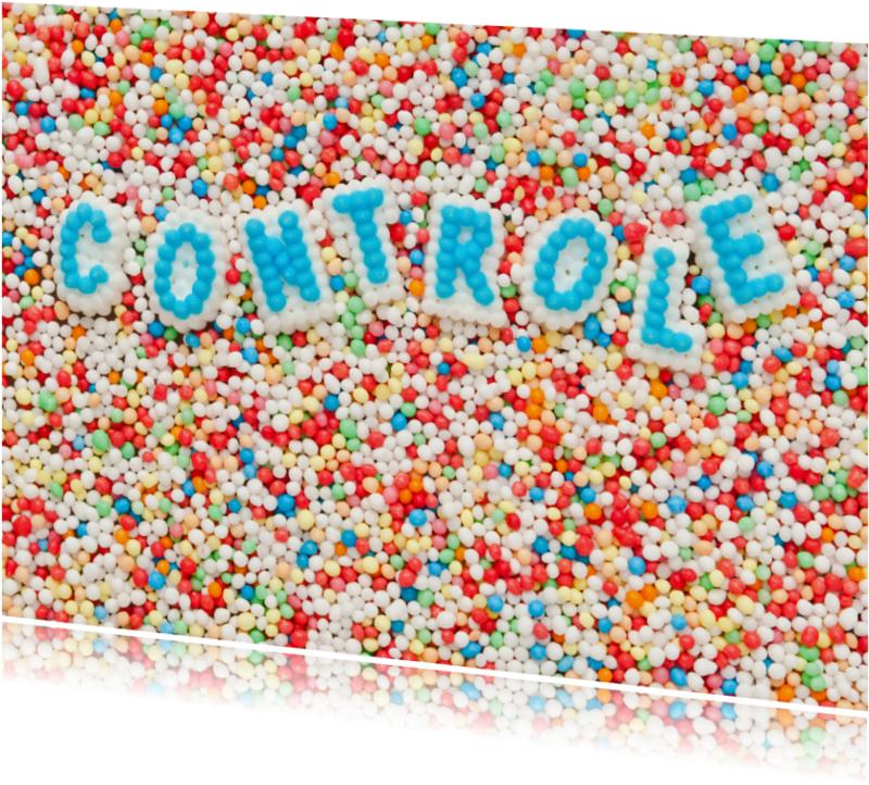 Kaarten mailing - CONTROLE gemaakt van suikerletters