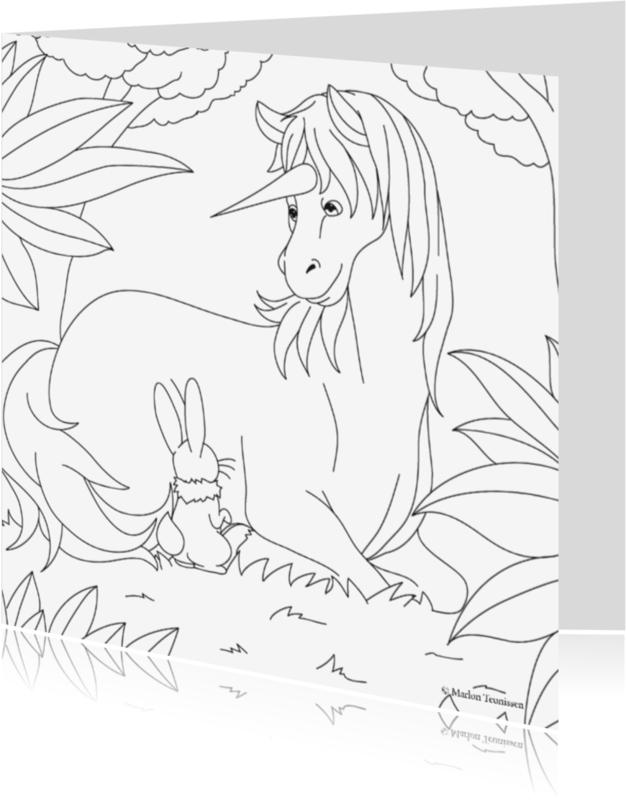 Kleurplaat kaarten - de mooie eenhoorn