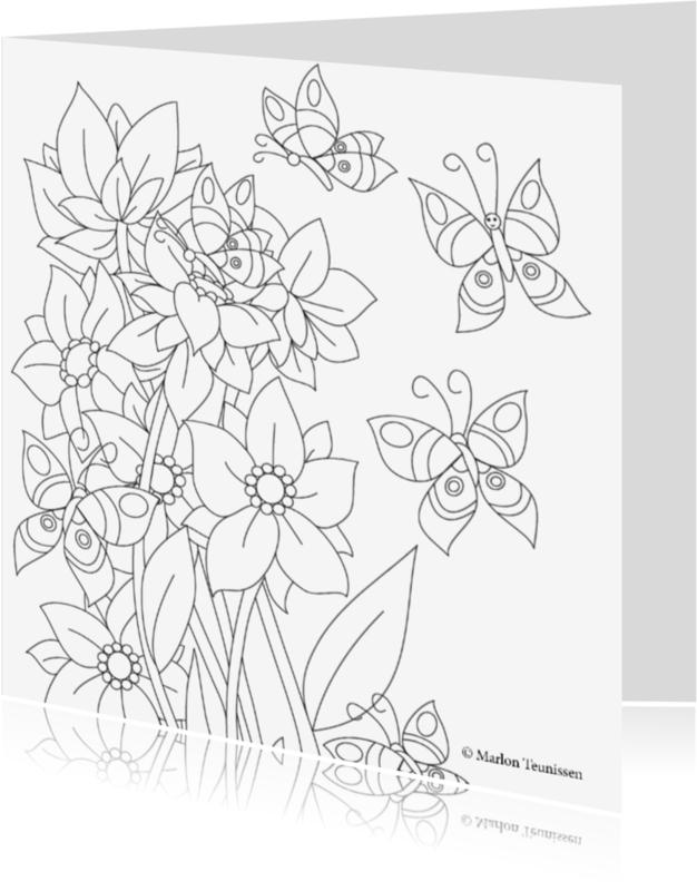 Kleurplaat kaarten - de vlinders en de bloemen