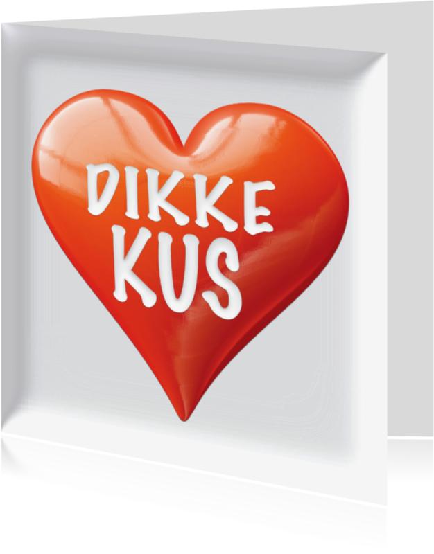 Zomaar kaarten - dikke kus met glanzend hart