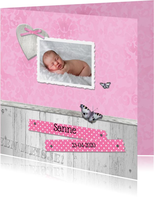 Geboortekaartjes - Een dochter met hartje, strikje