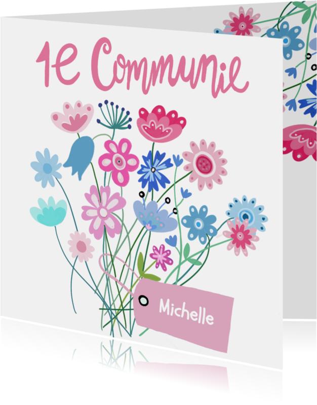 Communiekaarten - Eerste communie bloemen label