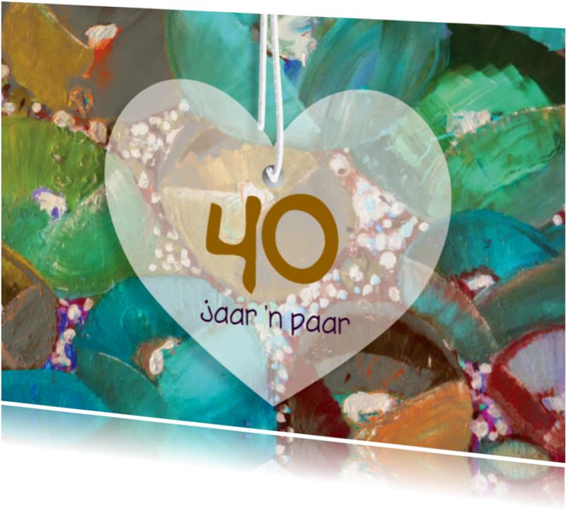 Jubileumkaarten - eigen txt hart bloemschildering