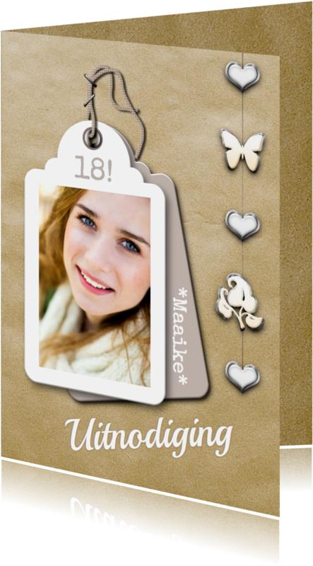 Uitnodigingen - Feest label foto en hanger RB