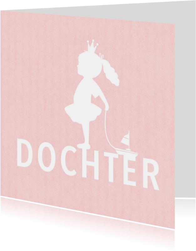 Felicitatiekaarten - Felicitatie dochter silhouet bootje roze - MW