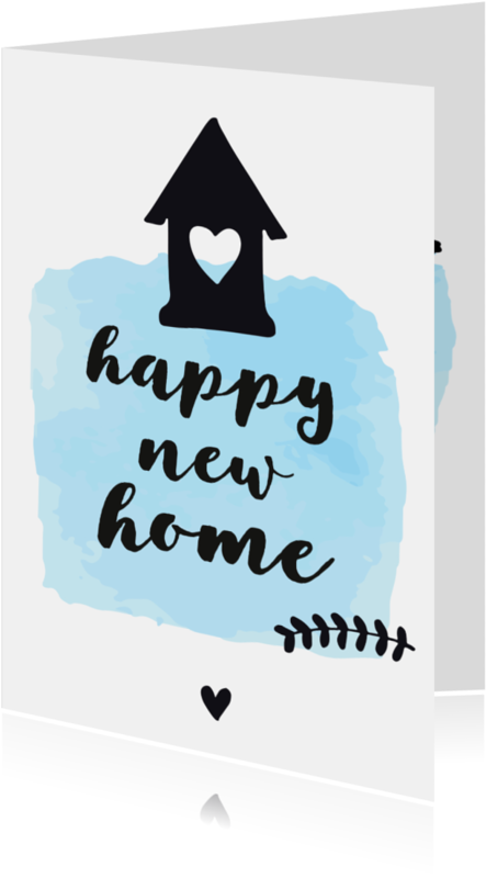 Felicitatiekaarten - Felicitatie Happy new home - zwart wit