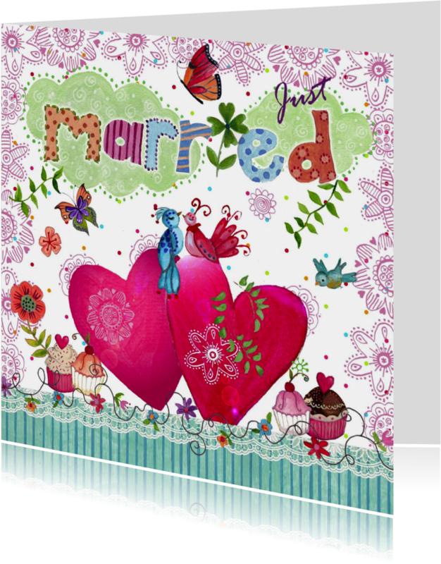 Trouwkaarten - Felicitatie Pas Getrouwd Wolken Hartjes