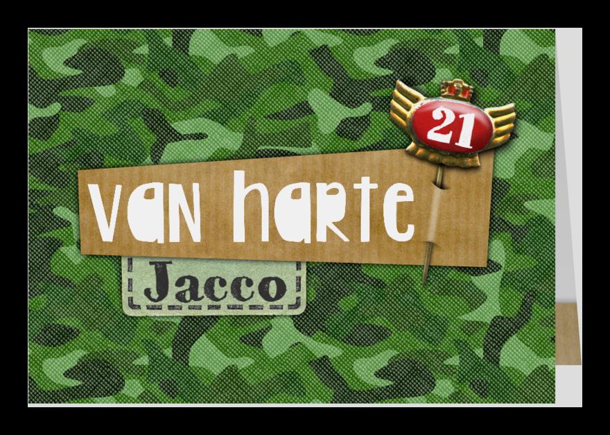 Felicitatiekaarten - Felicitatie verjaardag camouflage speld