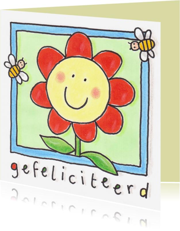 Verjaardagskaarten - felicitatiekaart, bloem