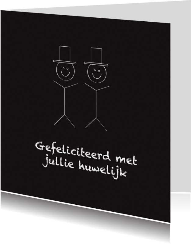 Trouwkaarten - Felicitatiekaart huwelijk 2 mannen