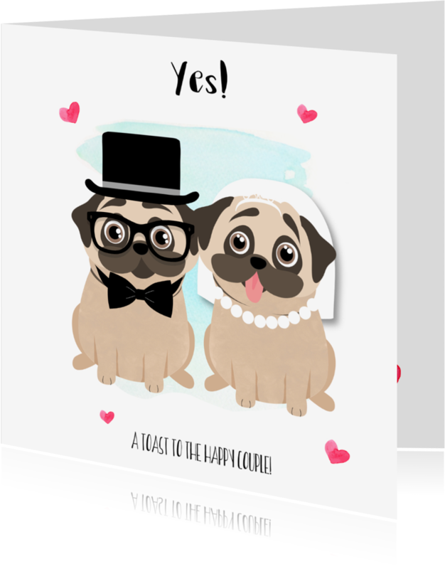"Felicitatiekaarten - ""Felicitatiekaartje pugs getting married - SD"""