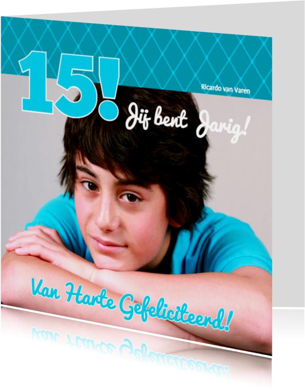 Verjaardagskaarten - Foto 4kant Jarig blauw - BK