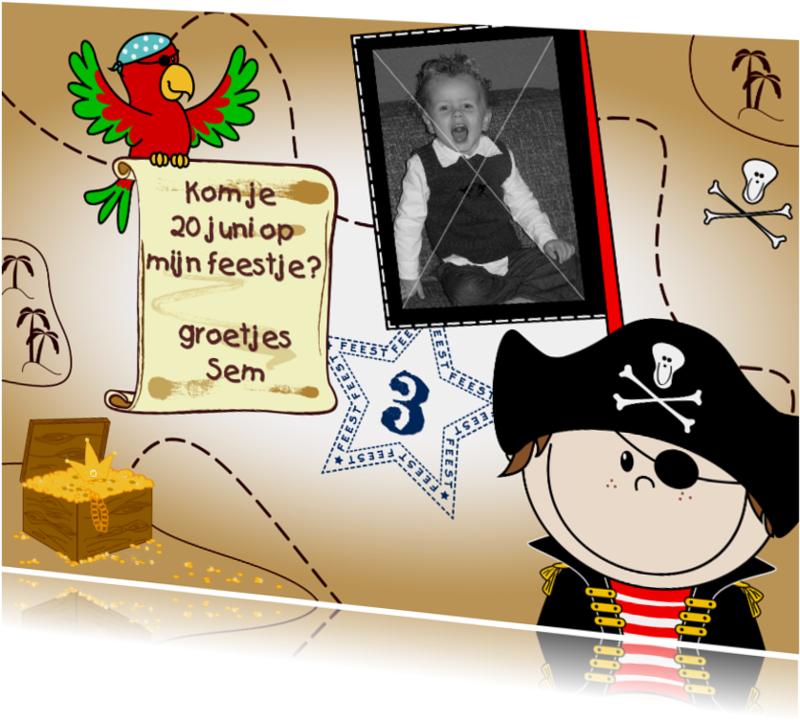 Kinderfeestjes - Foto uitnodiging Piraat en papegaai