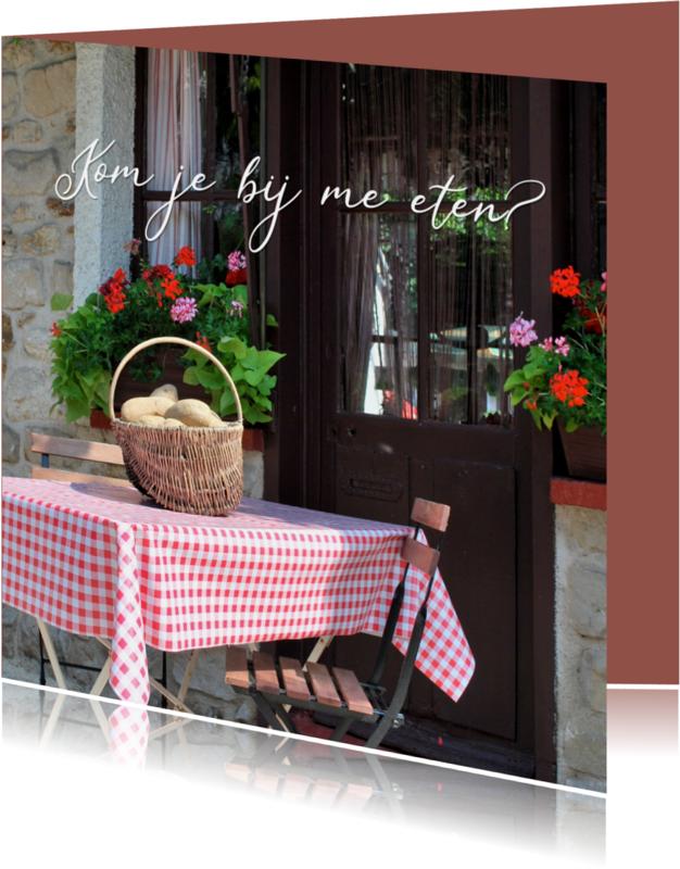 Uitnodigingen - Fotokaart etentje met tafelkleed