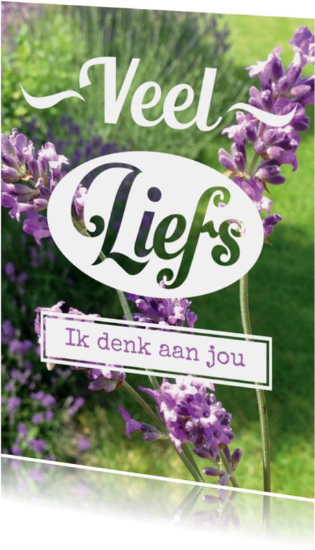 Liefde kaarten - Fotokaart lavendel eigen tekst