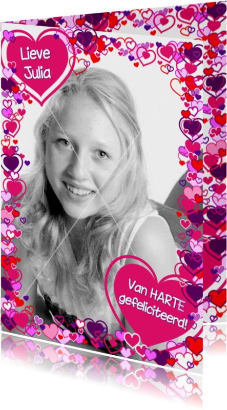 Verjaardagskaarten - Fotokader Vrolijke fotokaart hartjes