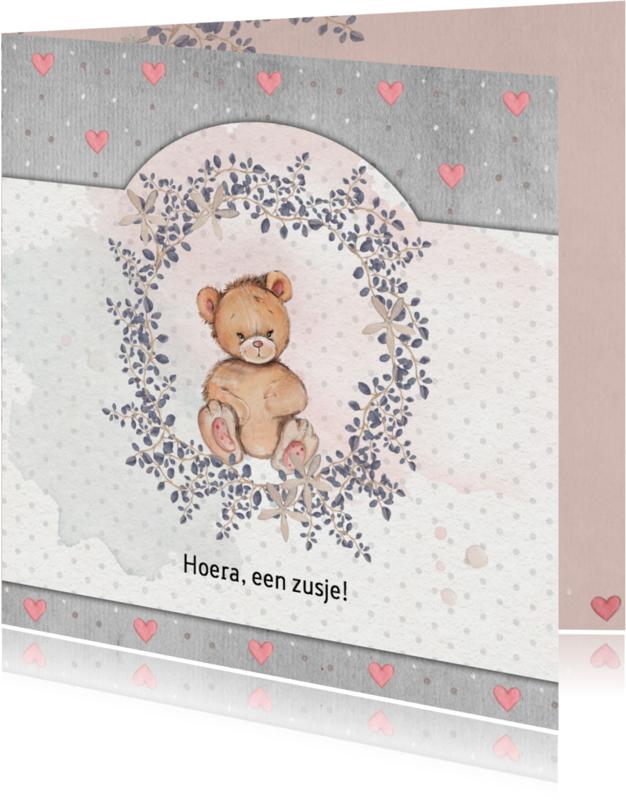 Geboortekaartjes - Geboorte beer, zusje, 3e kindje